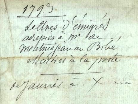 Lettres d'émigrés saisies par la poste en 1793 par Jean-Pierre Duval