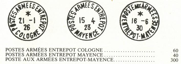 Secteur postal 1919/1930 – Zone d'occupation en Allemagne